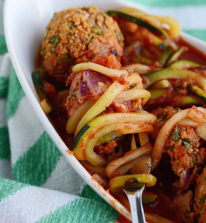 paleo diet, paleo recipes, Zucchini Noodles and Meatballs